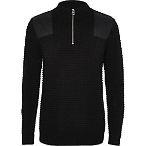 Prolific - Zwarte hoogsluitende gebreide trui voor jongens