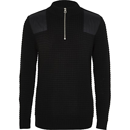 Boys black Prolific high neck knitted jumper