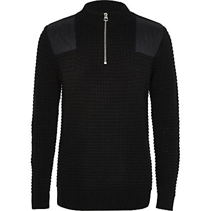 Boys black Prolific high neck knitted jumper