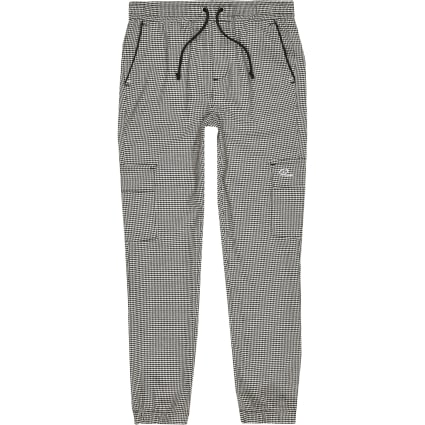 Boys grey dogtooth utility joggers