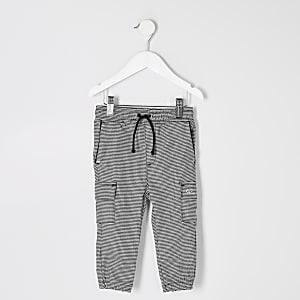 Mini – Graue Jogginghose im Utility-Look mit Karomuster für Jungen