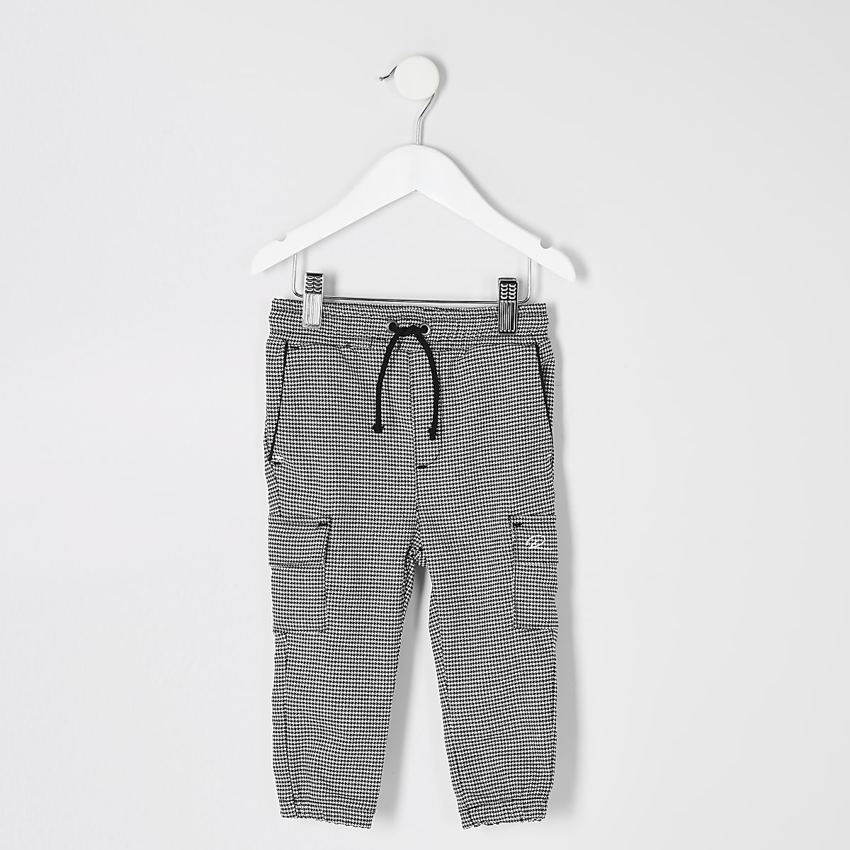 Mini boys grey check utility joggers
