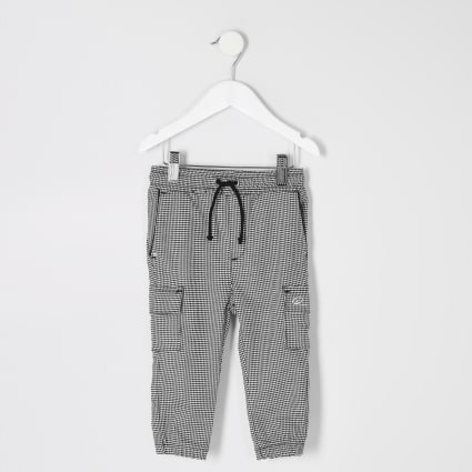 Mini boys grey check utility joggers