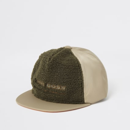 Mini boys cream 'Mini boss' borg flat cap