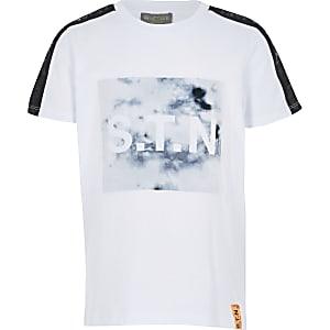 T-shirt de sport blanc marbré à bandes Rl pour garçon