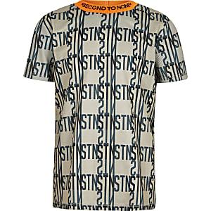 T-shirt de sport imprimé à bandes Rl beige pour garçon
