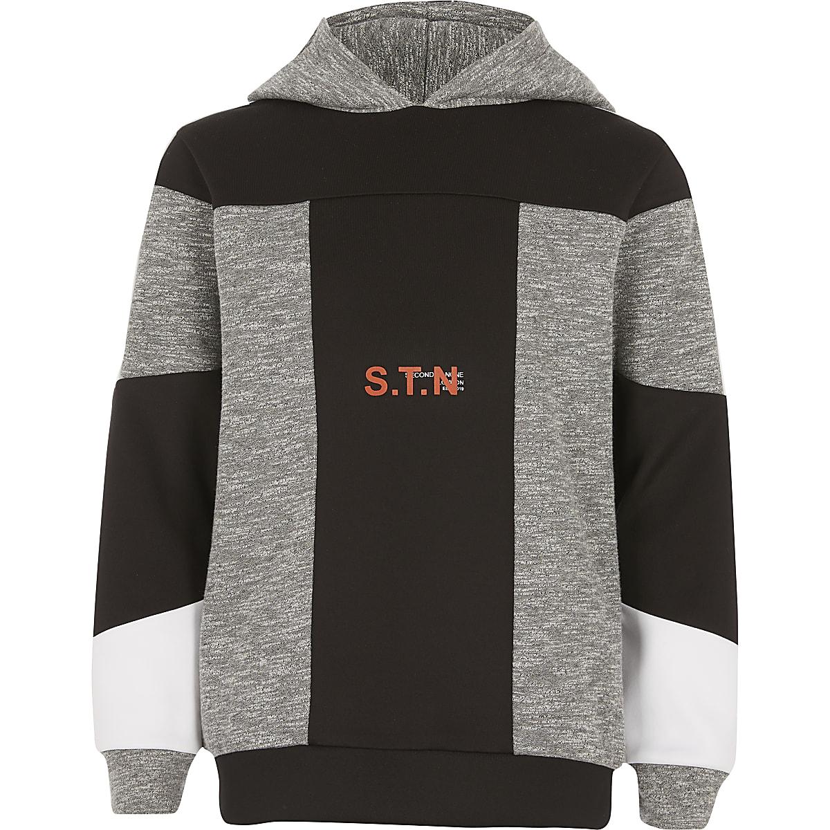 RI Active - Grijze geblokte hoodie voor jongens
