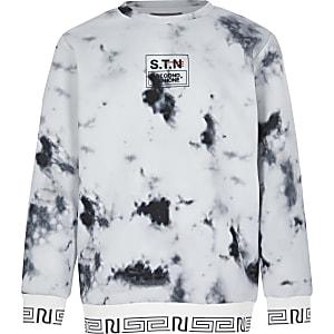 """RI Active– Pullover mit """"STN""""-Aufdruck und Marmor-Muster für Jungen"""