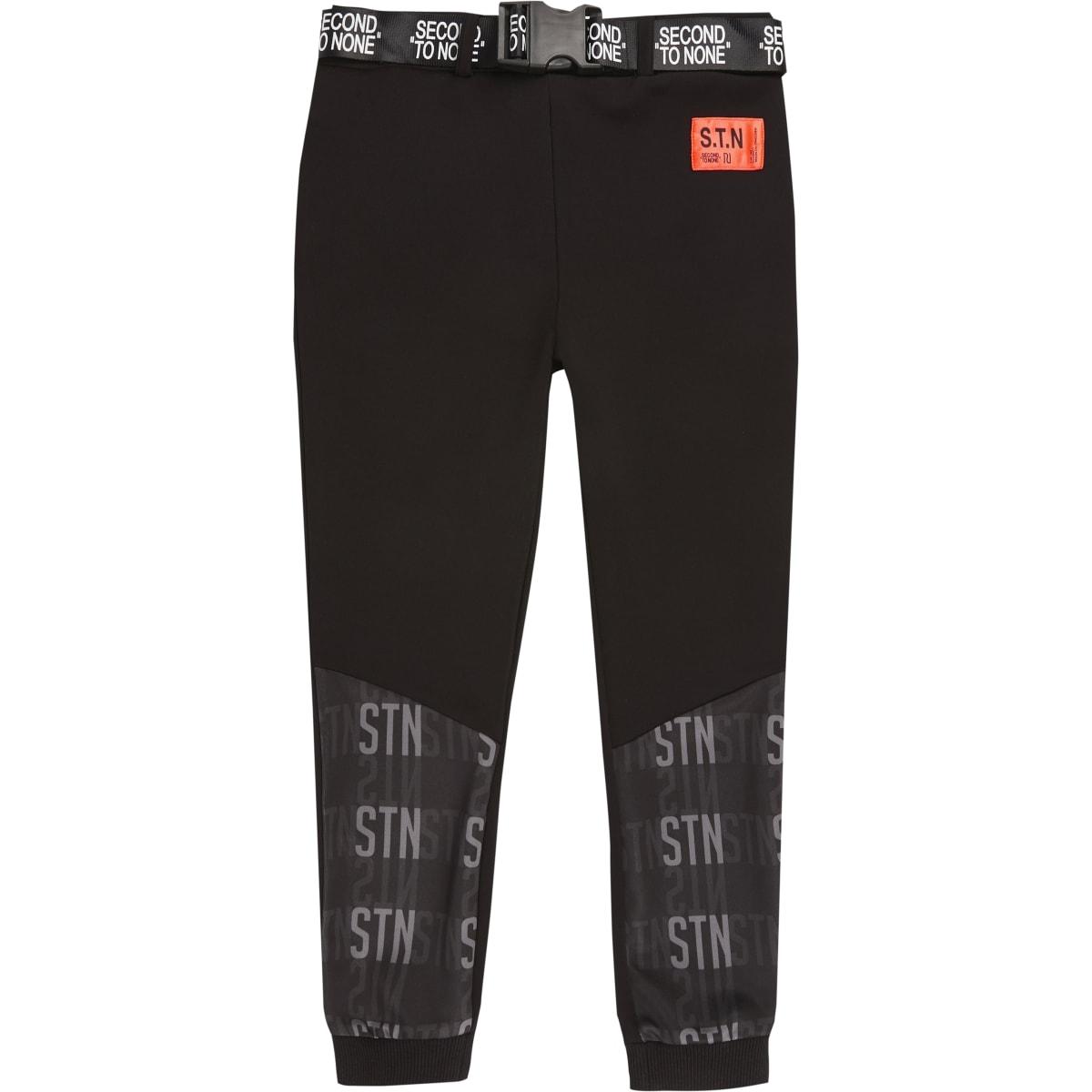 RI Active - Pantalon de jogging noir « STN» avec ceinture pour garçon
