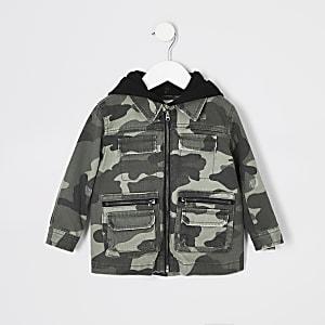 Mini - Enfants - Veste chemise camouflage kaki à capuche