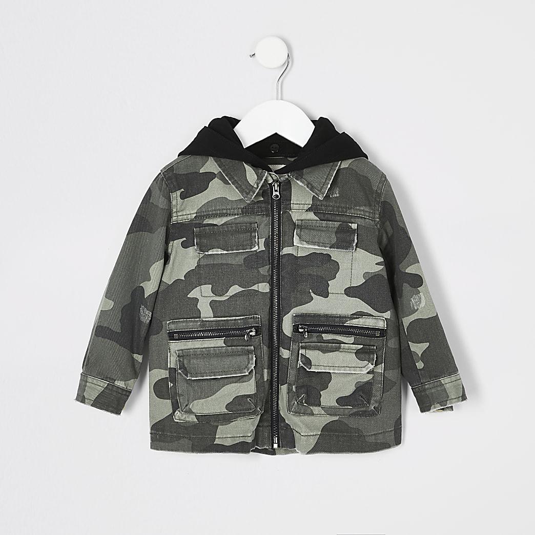 Mini - Kaki shacket met capuchon en camouflageprint voor kids