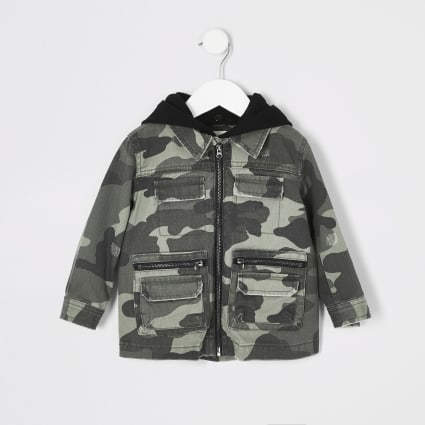 Mini kids khaki camo hooded shacket