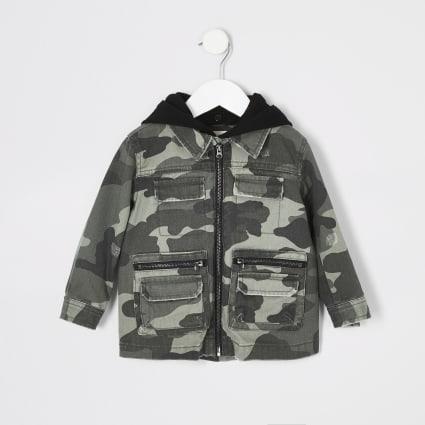 Mini kids khaki camo hooded shacket