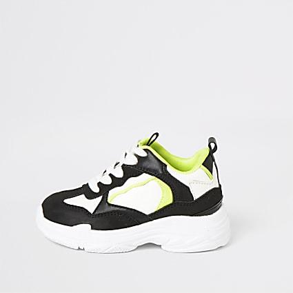 Mini boys black and neon chunky trainers