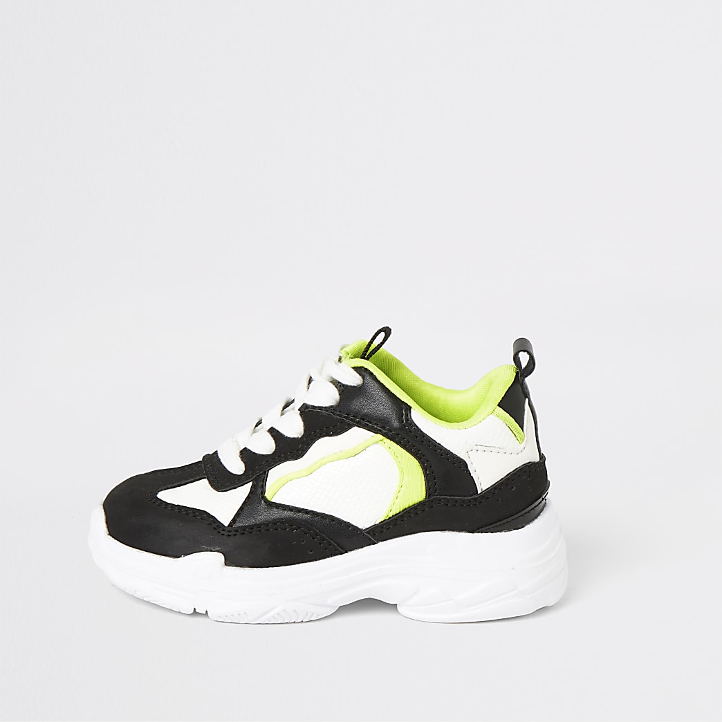 Mini boys black and neon chunky trainers