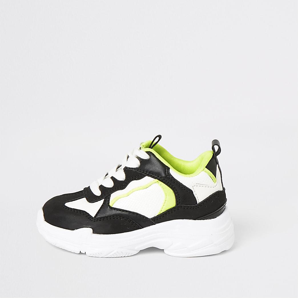 Mini - Zwarte neon stevige sneakers voor jongens