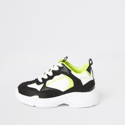 Mini boys black neon chunky trainers