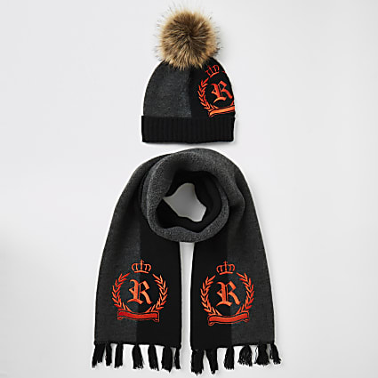 Boys black RI crest knitted hat and scarf set