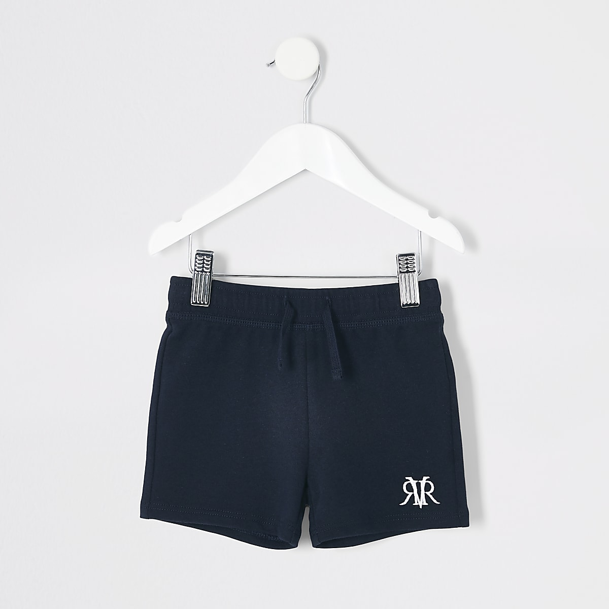 Mini boys navy 'RVR' embroidered shorts