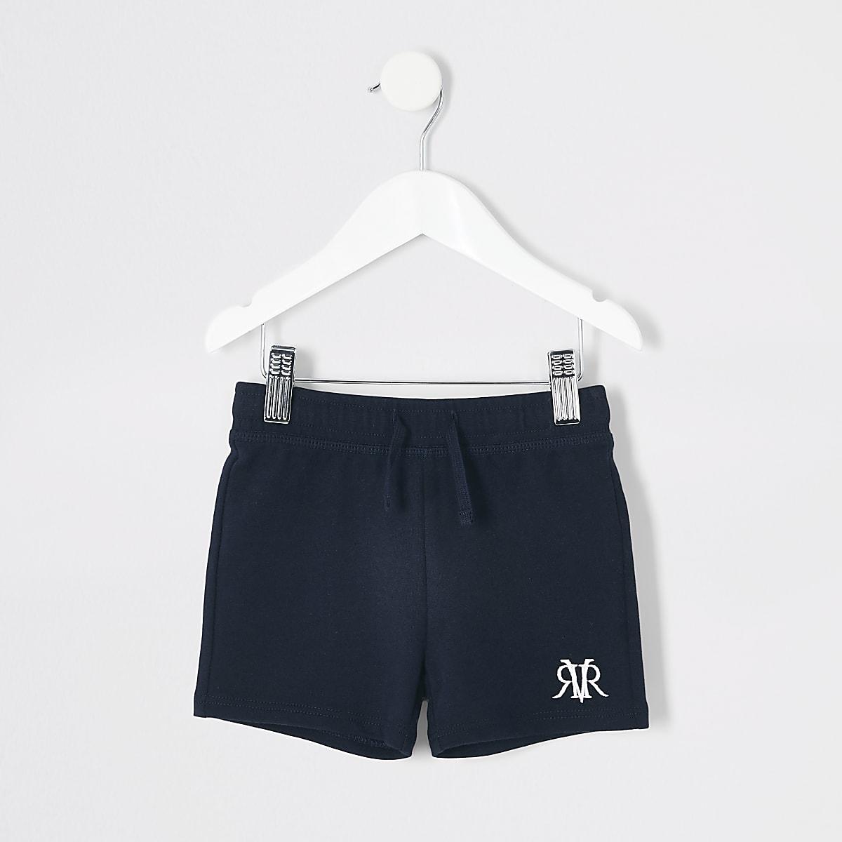 Mini - Marineblauwe short met 'RVR'-borduursel voor jongens