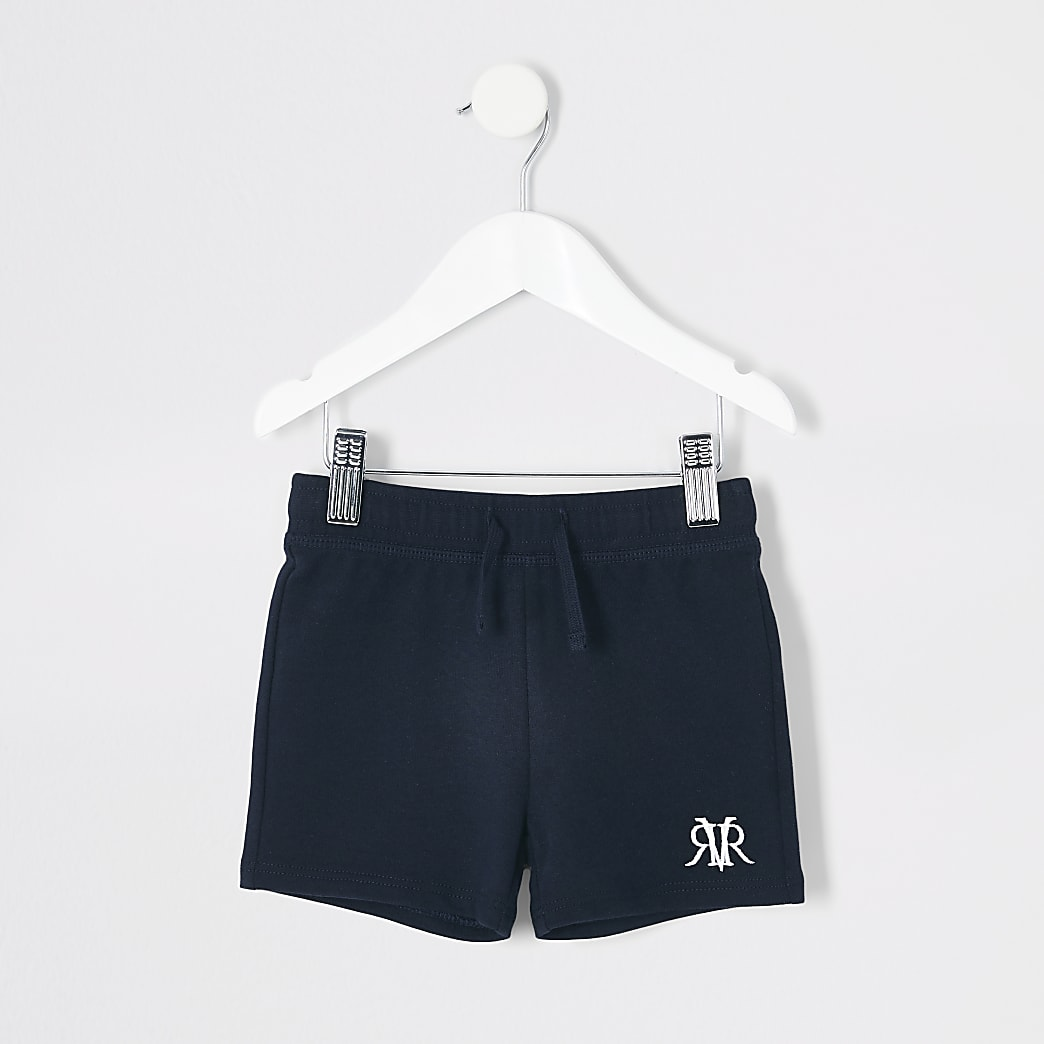 Mini boys navy 'RVR' embroidered shorts