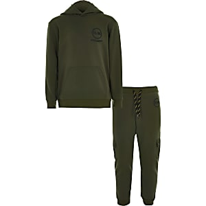 Khakifarbenes R96-Utility-Hoodie-Outfit für Jungen