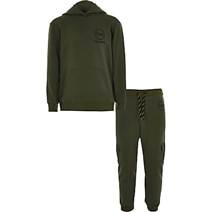 Boys khaki R96 utility hoodie outfit
