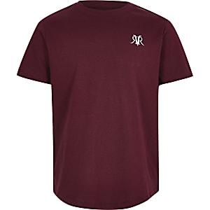 Bordeauxrood T-shirt met RI-logo voor jongens
