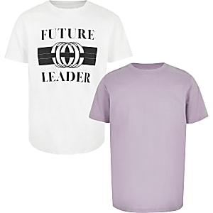Multipack T-shirt met 'Future leader'-print voor jongens