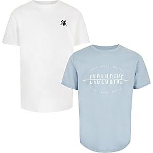 Witte en Blauwe T-shirts voor jongens multipack