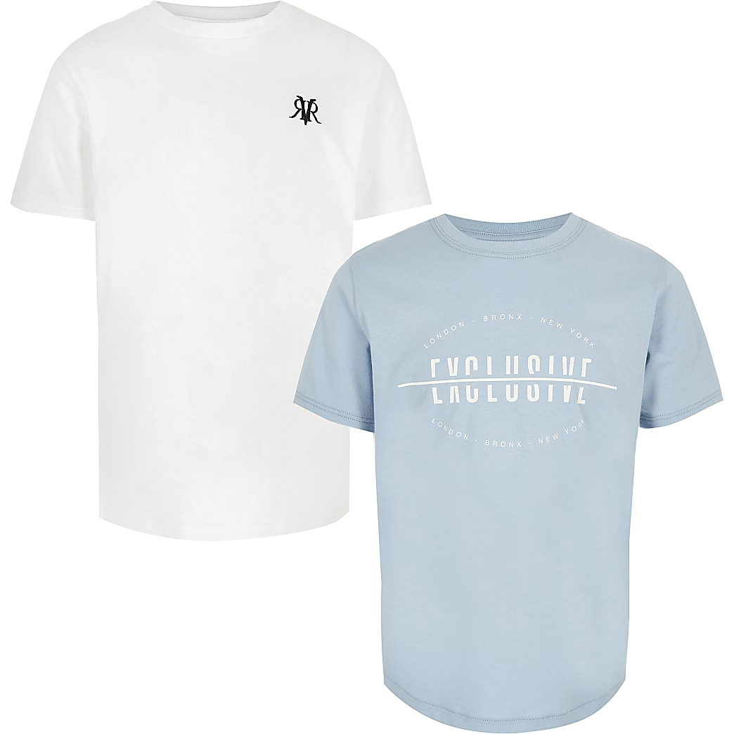 Boys white and blue T-shirt multipack