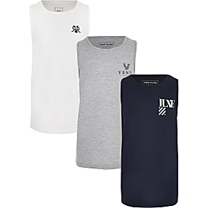 Boys navy mixed vest multipack