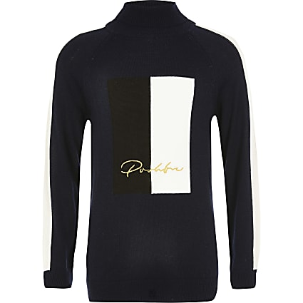 Boys navy Prolific roll neck blocked jumper