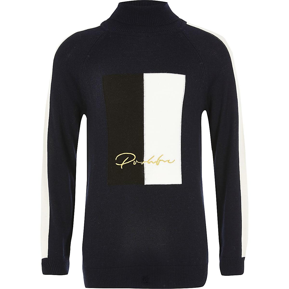 Prolific- Marineblauwe pullover met kleurvlakken en hoge col voor jongens