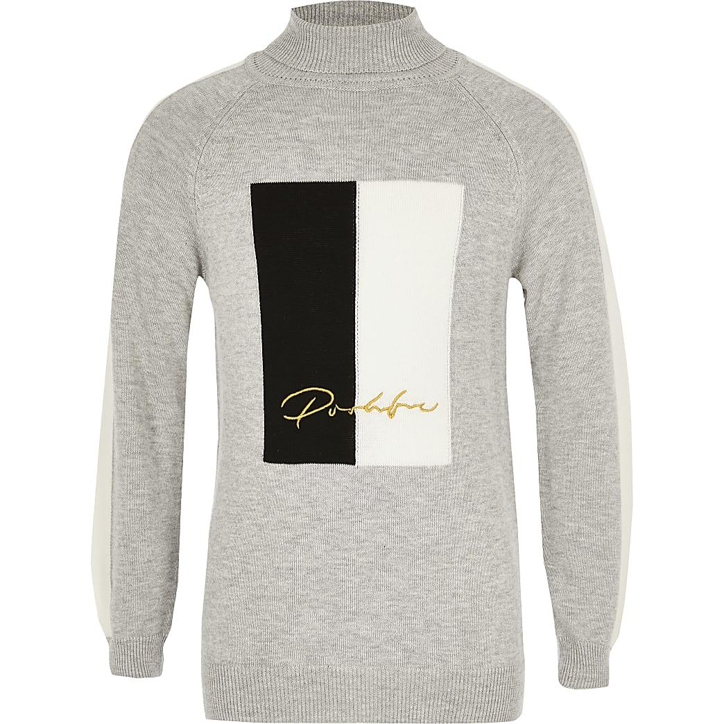 Prolific- Grijze pullover met vlakken en col voor jongens