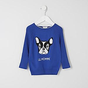 Mini - Blauwe pullover met 'Lil Homme'-tekst voor jongens