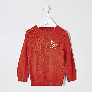 Mini - Oranje pullover met 'be brave'-tekst en textuur voor jongens