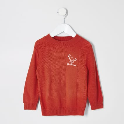 Mini boys orange 'be brave' textured jumper