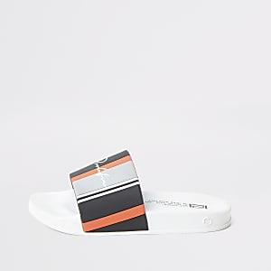 Prolific - Wit gestreepte slippers voor jongens