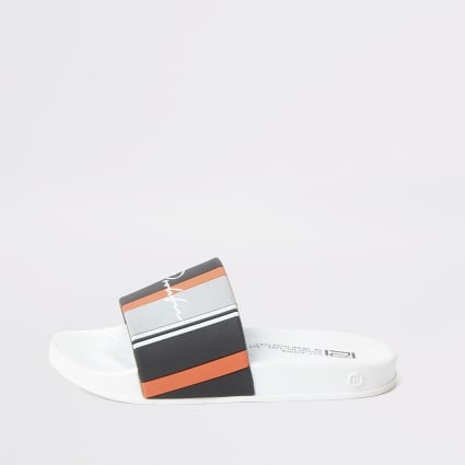 Boys white stripe Prolific sliders