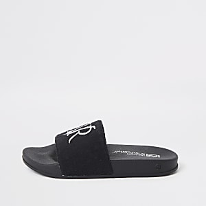 Boys black RVR towel sliders