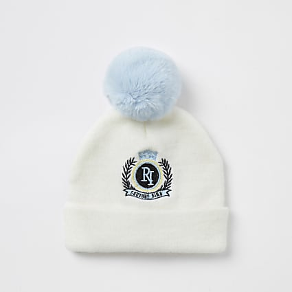 Mini boys RI white beanie hat