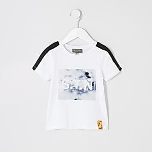 T-shirt de sport blanc marbré à bandes Rl pour mini garçon