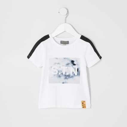 Mini boys Ri Active white marble T-shirt