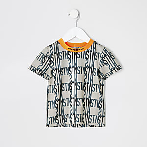 "Mini – Beiges, bedrucktes T-Shirt ""RI Active"" für Jungen"