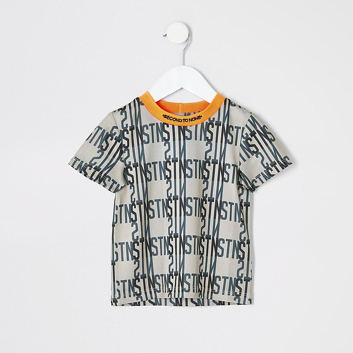 T-shirt de sport imprimé à bandes Rl beige mini garçon