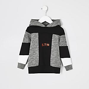 Mini-jongens RI Active grijze hoodie met kleurvakken en 'STN' tekst