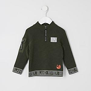 RI Active Sweatshirt in Khaki mit Reißverschlusskragen für kleine Jungen