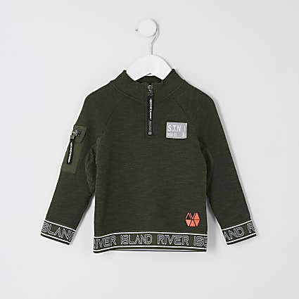 Mini boys RI Active khaki STN half zip jumper