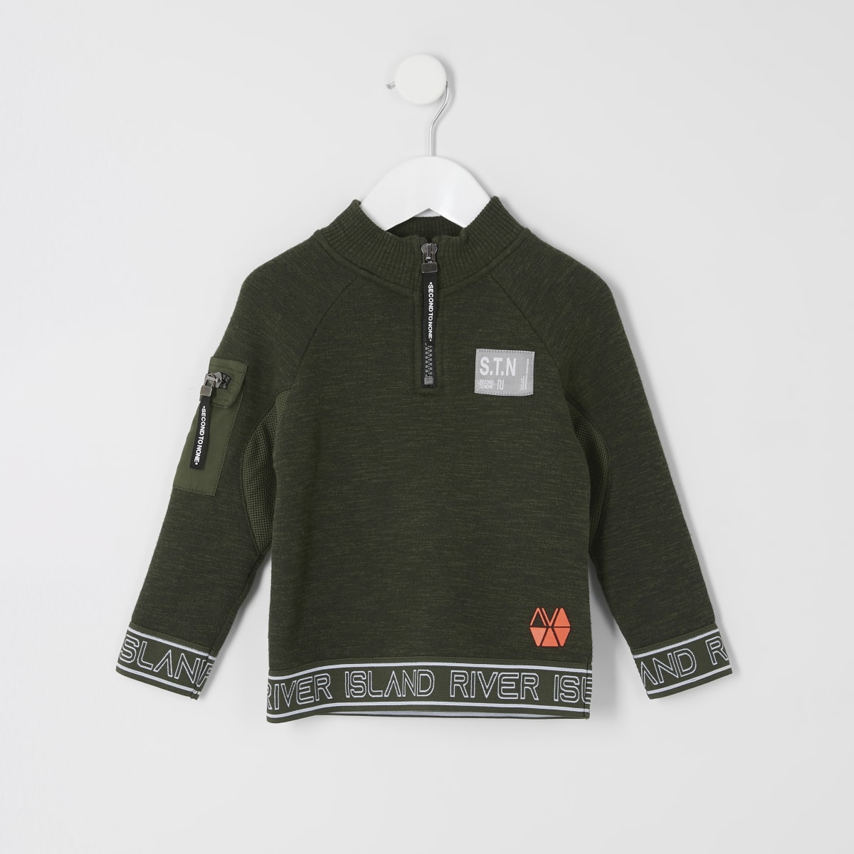 Mini boys RI Active khaki zip neck sweatshirt